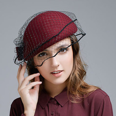 Ladies' Elegant Wool With Bowknot/Tulle Beret Hats