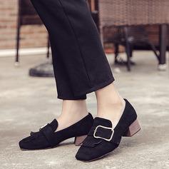 Women's Suede Low Heel Flats With Buckle Tassel shoes