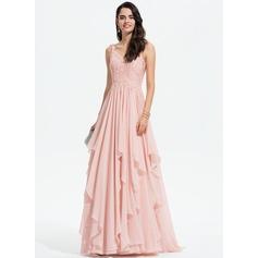 Corte A Decote V Sweep/Brush trem Tecido de seda Vestido de baile com Renda Beading lantejoulas