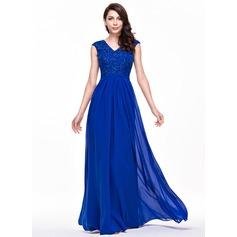 Vestidos princesa/ Formato A Decote V Longos De chiffon Renda Vestido de festa com Bordado Lantejoulas