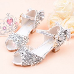 Jentas Titte Tå Leather Sparkling Glitter lav Heel Sandaler Flower Girl Shoes med Profilering