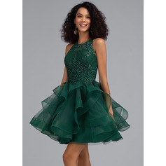 Robe Marquise/Princess Col rond Court/Mini Tulle Robe de cocktail avec Paillettes