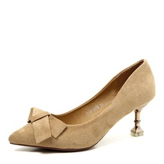 Women's Leatherette Spool Heel Pumps Closed Toe With Bowknot shoes