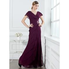 Vestidos princesa/ Formato A Decote V Longos De chiffon Vestido de Férias com Pregueado Bordado