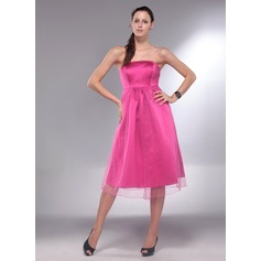 A-Line Strapless Knee-Length Satin Maternity Bridesmaid Dress With Ruffle (045013064)