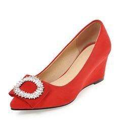 Femmes Suède Talon compensé Compensée avec Strass chaussures