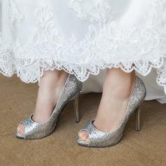 Kvinner Glitrende Glitter Stiletto Hæl Titte Tå Pumps Sandaler
