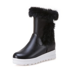 Women's Leatherette Wedge Heel Closed Toe Boots Mid-Calf Boots Snow Boots With Fur shoes
