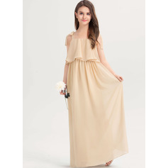 A-Line Square Neckline Floor-Length Chiffon Junior Bridesmaid Dress With Bow(s) Cascading Ruffles