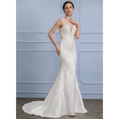 Trumpet/Mermaid Scoop Neck Court Train Satin Lace Wedding Dress With Beading Sequins