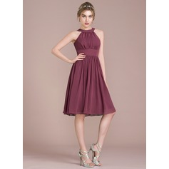 A-Line/Princess Scoop Neck Knee-Length Chiffon Homecoming Dress With Ruffle (022116413)