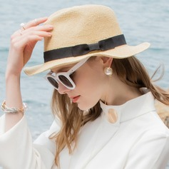 Senhoras Charmosa/Simples Ráfia de palha Chapéus praia / sol