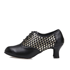 Women's Real Leather Heels Swing Dance Shoes