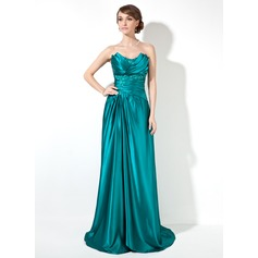 Sheath/Column Scalloped Neck Sweep Train Charmeuse Prom Dresses With Ruffle Beading (018002473)