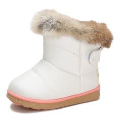 Pigens Leatherette Flad Hæl Round Toe Mid Læggen Støvler Støvler med Velcro
