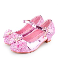 Pigens Round Toe Lukket Tå Leatherette Flower Girl Shoes med Bowknot
