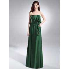A-Line/Princess Strapless Floor-Length Charmeuse Evening Dress With Cascading Ruffles