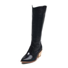 Kvinder PU Stor Hæl Støvler med Delt Bindeled sko