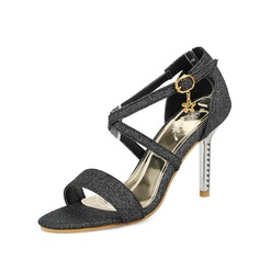 Women's Sparkling Glitter Stiletto Heel Sandals Pumps Peep Toe Mary Jane With Buckle shoes