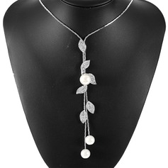 Beautiful Alloy Rhinestones Imitation Pearls With Imitation Pearl Ladies' Fashion Necklace (Sold in a single piece)
