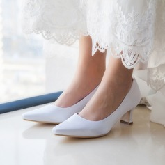 Vrouwen Satijn Chunky Heel Closed Toe Sandalen
