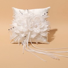 Square Ring Pillow in Satin/Lace With Ribbons/Rhinestones/Flowers
