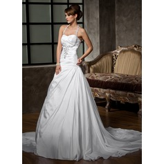 Forme Princesse Dos nu Traîne moyenne Taffeta Robe de mariée avec Plissé Emperler Sequins