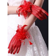 Spitze Handgelenk Länge Braut Handschuhe mit Spitze Blume