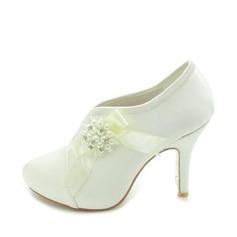 Frauen Satiniert Kegel Absatz Stiefel Geschlossene Zehe Plateauschuh Absatzschuhe mit Perlen Flakem Synthetischen Perlen