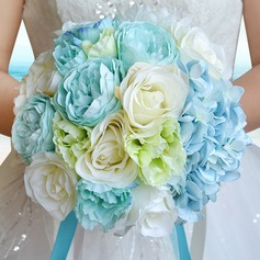 Lovely Round Satin/Silk linen Bridal Bouquets/Bridesmaid Bouquets