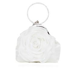 Elegante Seda com Flor Bolsa de Pulso/Porta Moedas de Noiva (012052479)