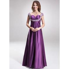 Empire-Linie Herzausschnitt Bodenlang Charmeuse Abendkleid mit Rüschen Perlen verziert