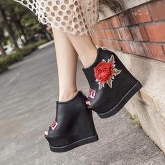Kvinder PU Kile Hæl Platform Kiler Kigge Tå Ankelstøvler med Paillet Blomst sko