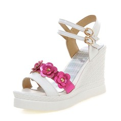 Women's PU Wedge Heel Pumps Wedges With Flower shoes (116156188)