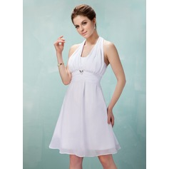 A-Line/Princess Halter Knee-Length Chiffon Bridesmaid Dress With Ruffle Crystal Brooch Bow(s)