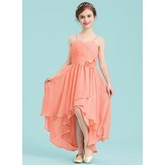 A-Linie Schatz Asymmetrisch Chiffon Kleider für junge Brautjungfern mit Rüschen Blumen