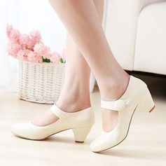 Women's Leatherette Chunky Heel With Velcro shoes (085114620)