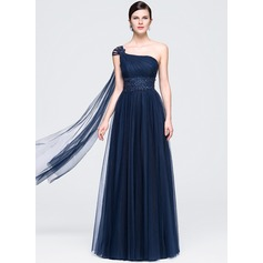 A-Line/Princess One-Shoulder Floor-Length Tulle Prom Dress With Ruffle Beading Appliques Lace Sequins
