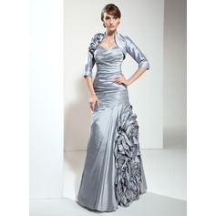 A-Line/Princess Sweetheart Floor-Length Taffeta Mother of the Bride Dress With Ruffle Flower(s)