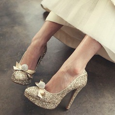 Women's Sparkling Glitter Stiletto Heel Closed Toe Platform Beach Wedding Shoes With Rhinestone Ribbon Tie