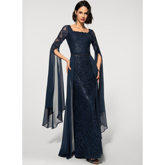 Sheath/Column Square Neckline Floor-Length Chiffon Lace Evening Dress With Beading Sequins (017219195)