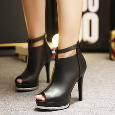 Donna Similpelle Tacco a spillo Stivali Punta aperta Stivali alla caviglia con Cerniera scarpe