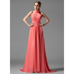 A-Line/Princess Halter Sweep Train Chiffon Bridesmaid Dress With Ruffle Flower(s) (007004138)