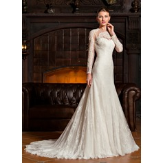 Trompete/Sereia Decote redondo Sweep/Brush trem Tule Renda Vestido de noiva