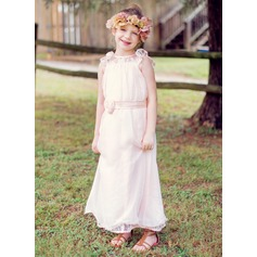 A-Line/Princess Ankle-length Flower Girl Dress - Chiffon/Lace Sleeveless Scoop Neck With Lace/Sash/Flower(s) (010089502)