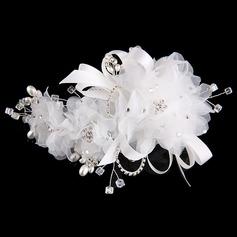 Spécial Strass/Alliage/De faux pearl/Fil net/Fleur en soie Bandeaux (Vendu dans une seule pièce)