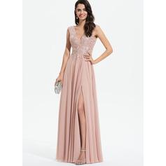 Corte A Decote V Longos Tecido de seda Vestido de baile com Renda Frente aberta