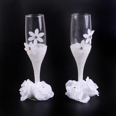 Vakkert Skåle Glass Sett med Imitert Perle/Blomst(er) (Sett Av 2)