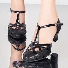Femmes Pailletes scintillantes Sandales Escarpins Salle de bal avec Lanière en T Boucle Ouvertes Chaussures de danse