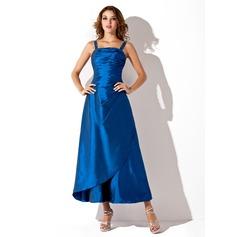 Forme Princesse Encolure carrée Longueur cheville Taffeta Robe de demoiselle d'honneur avec Plissé